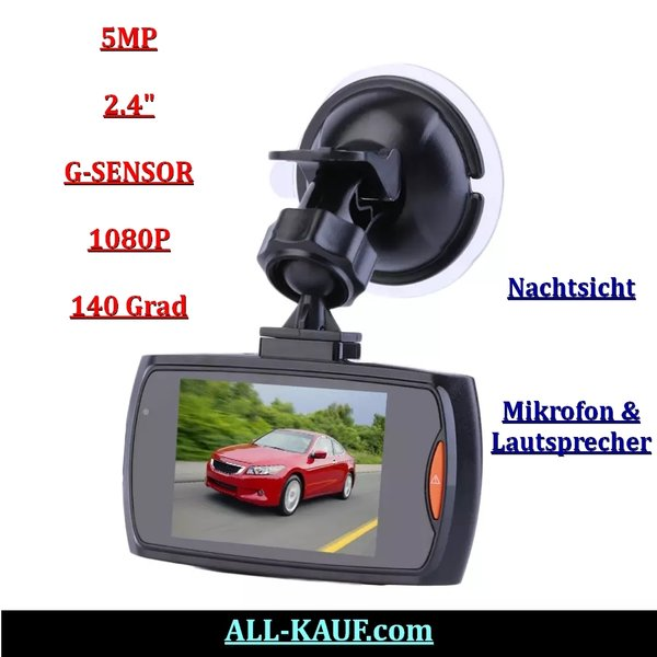 Dashcam KFZ Full HD 1080p Nachtsicht Car DVR Autokamera Videos Bewegungssensor