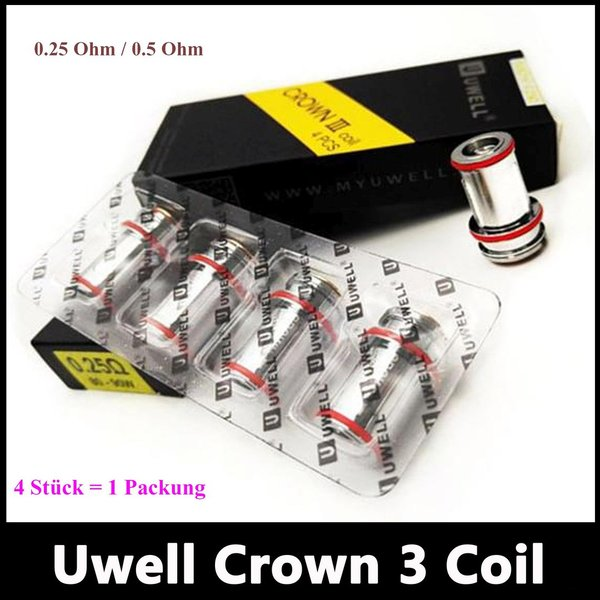 Uwell Crown 3 Coils Parallel Heads 0.25 Ohm / 0.5 Ohm 4er Pack Verdampferköpfe